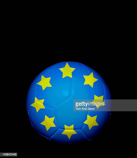 Soccer football with European Union flag on it