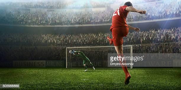 moment avec gardien de but de football