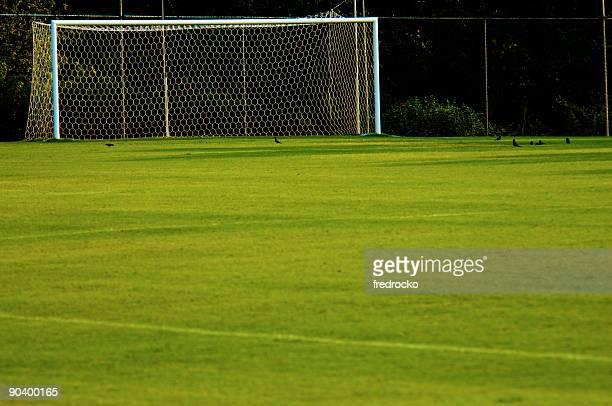Soccer Goal and Soccer Net on Soccer Field during Soccer Game
