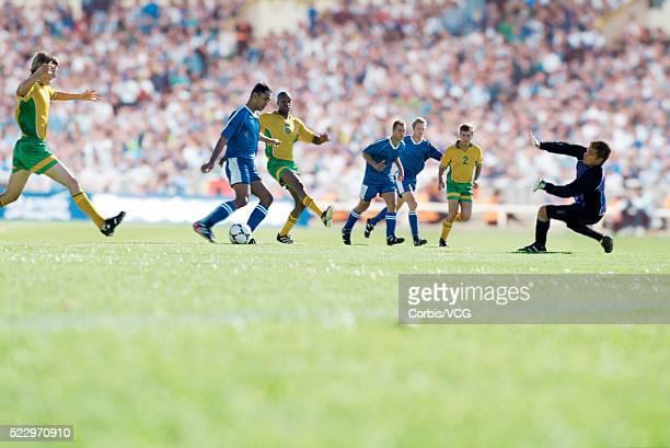 Soccer Goalie Defending Goal