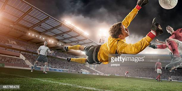 Soccer Goalie in Mid Air Save