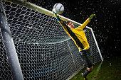 Soccer Goalie Jumping For Ball