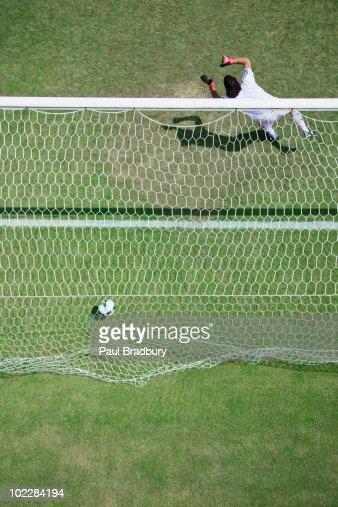 Soccer goalie missing soccer ball