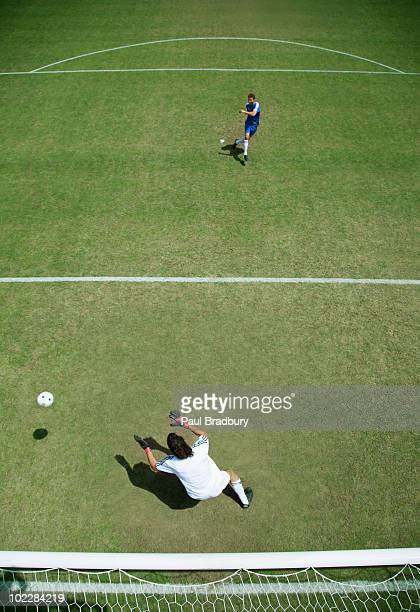 Soccer goalie missing soccer ball
