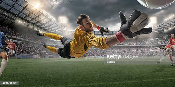 Soccer Goalkeeper Extreme Close Up Action