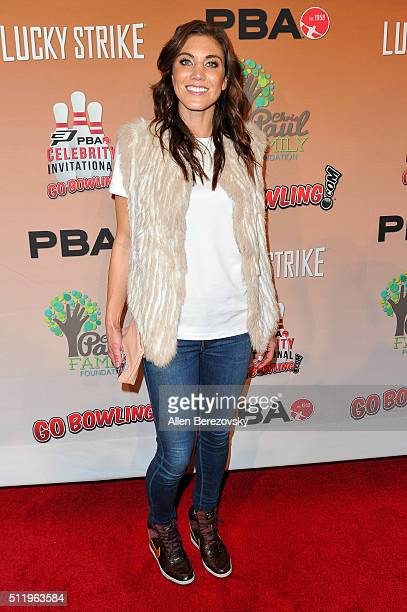 Soccer goalkeeper Hope Solo attends the CP3 PBA Celebrity Invitational Charity Bowling Tournament presented by GoBowlingcom at Lucky Strike Lanes at...