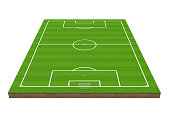 Soccer Grass Field isolated on white background. 3D render