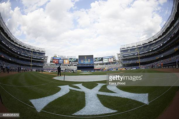 International Champions Cup Closeup of New York Yankees logo on field wide view of stadium before Manchester City FC vs Liverpool FC preseason game...