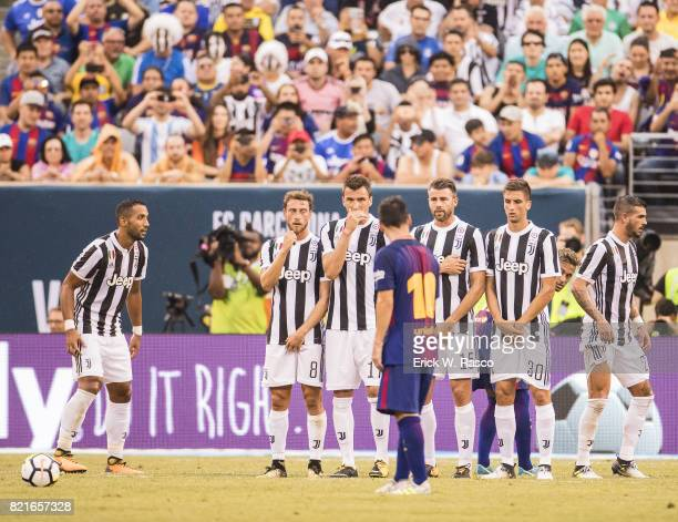 International Champions Cup Juventus FC Claudio Marchisio Mario Mandukic Andrea Barzagli and Rodrigo Bentancur druing game vs FC Barcelona at MetLife...