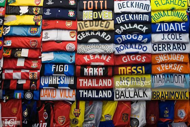 Soccer jerseys for sale at Patpong night market.