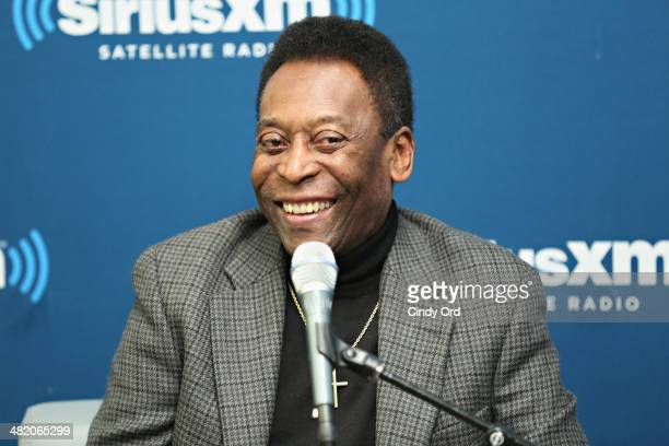 Soccer legend Pele takes part in a SiriusXM 'Town Hall' special with host Seamus Malin on SiriusXM's FC channel at the SiriusXM Studio on April 2...