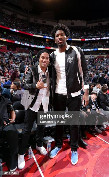 Soccer legend Ronaldinho and Joel Embiid of the Philadelphia 76ers during the NBA AllStar Game as part of the 2017 NBA All Star Weekend on February...