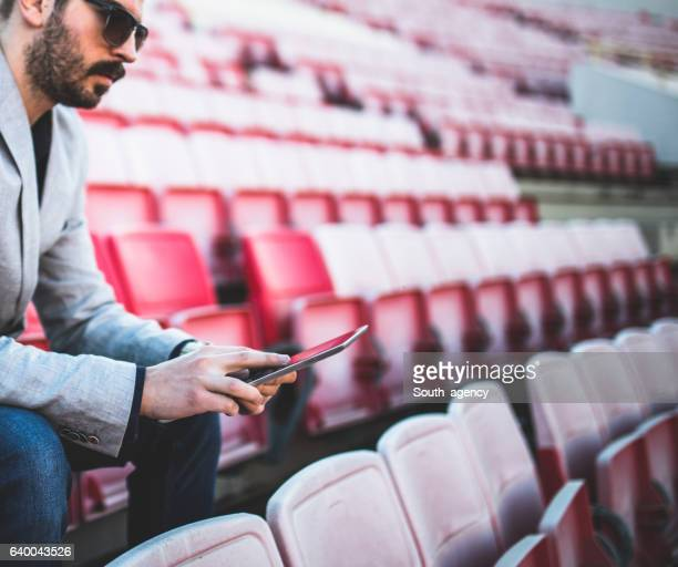 Soccer manager on the stands