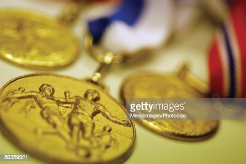 Soccer medals, close-up