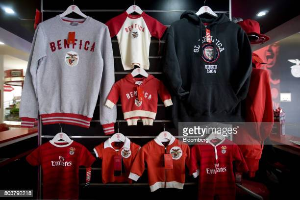 Soccer merchandise sits on display at the club store inside Sport Lisboa e Benfica's Luz stadium named Estadio do Sport Lisboa e Benfica in Lisbon...