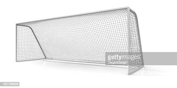 A soccer net on a white background