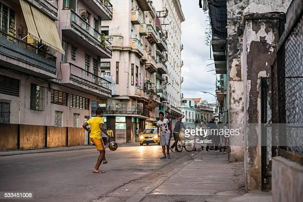 Soccer on the street in Havana, Cuba