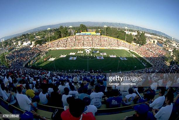 Overall areial view of Spartan Stadium during opening ceremonies before San Jose Clash vs DC United game Inaugural game of Major League Soccer San...
