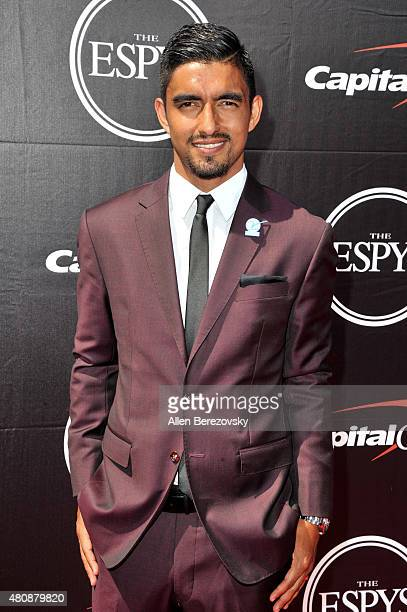 Soccer player A J DeLaGarza arrives at the 2015 ESPYS at Microsoft Theater on July 15 2015 in Los Angeles California