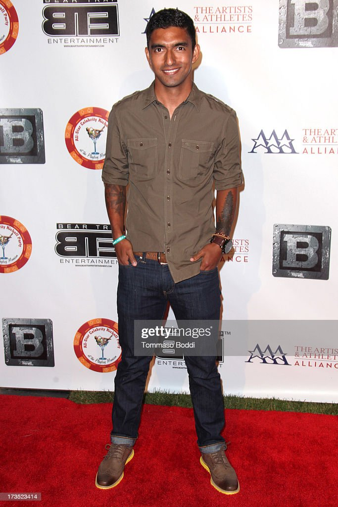 Soccer player A. J. DeLaGarza attends the 8th annual BTE All-Star Celebrity Kickoff Party held at The Playboy Mansion on July 15, 2013 in Beverly Hills, California.