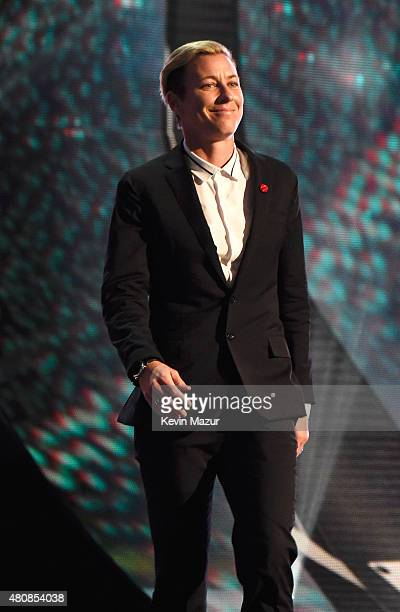 USWNT soccer player Abby Wambach presents the Aurthur Ashe award for Courage at The 2015 ESPYS at Microsoft Theater on July 15 2015 in Los Angeles...