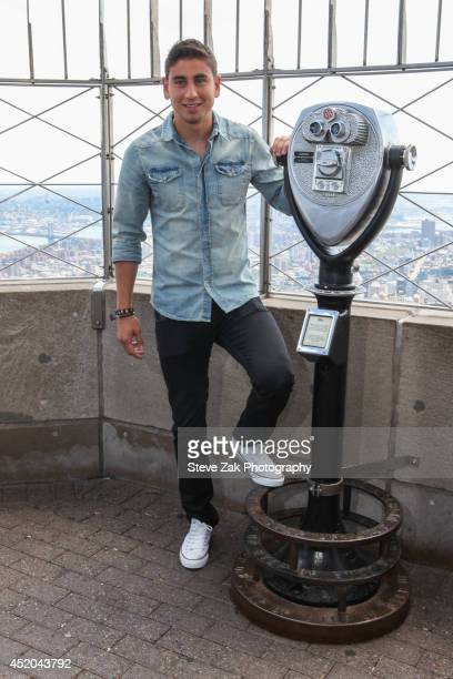 Soccer player Alejandro Bedoya visits The Empire State Building on July 11 2014 in New York City