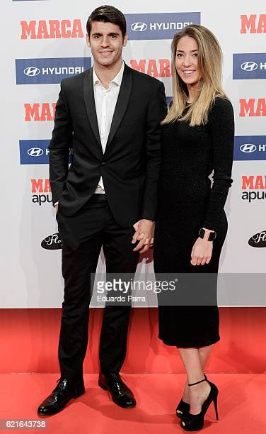Soccer player Alvaro Morata and model Alice Campello attend MARCA Football Award 20152016 at Florida Park on November 7 2016 in Madrid Spain