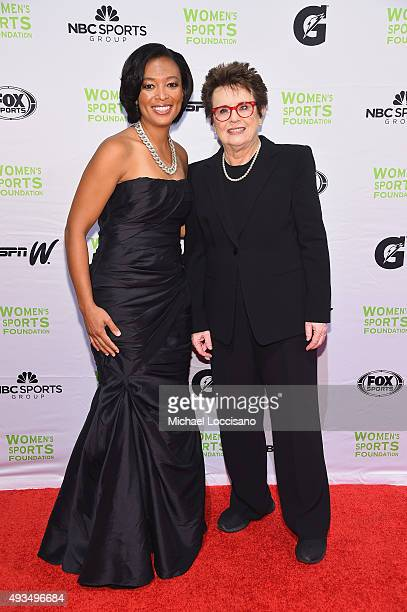 Soccer player Angela Hucles and former Tennis player Billie Jean King attend the 36th Annual Salute to Women In Sports at Cipriani Wall Street on...