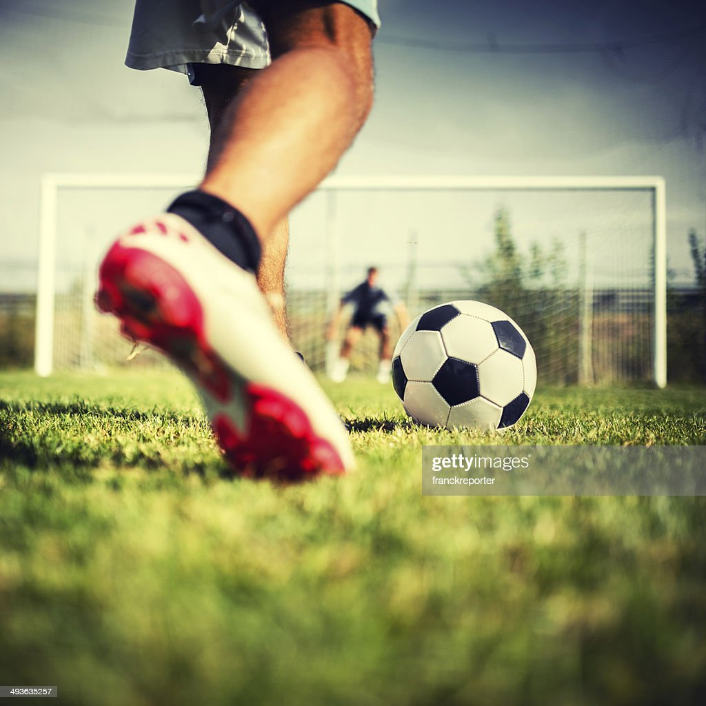 Soccer player at the penalty : Stock Photo