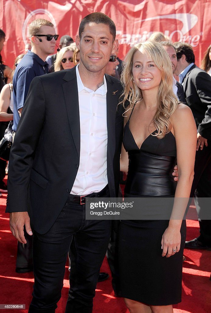 US soccer player <a gi-track='captionPersonalityLinkClicked' href=/galleries/search?phrase=Clint+Dempsey&family=editorial&specificpeople=547866 ng-click='$event.stopPropagation()'>Clint Dempsey</a> and wife Bethany Dempsey arrive at the 2014 ESPY Awards at Nokia Theatre L.A. Live on July 16, 2014 in Los Angeles, California.