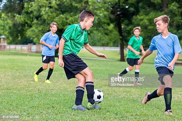 Soccer player concentrates during game