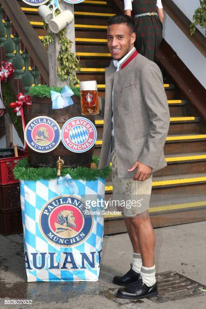 Soccer player Corentin Tolisso during the 'FC Bayern Wies'n' as part of the Oktoberfest at Theresienwiese on September 23 2017 in Munich Germany