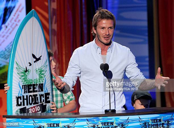 Soccer player David Beckham accepts the Choice Male Athlete award onstage during the 2010 Teen Choice Awards at Gibson Amphitheatre on August 8 2010...