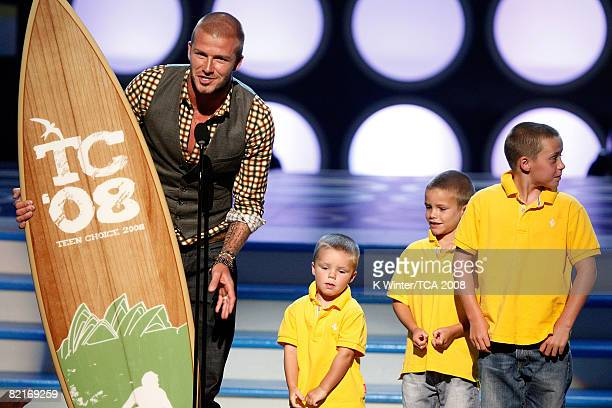 Soccer player David Beckham accepts the Choice Male Athlete award onstage during the 2008 Teen Choice Awards at Gibson Amphitheater on August 3 2008...