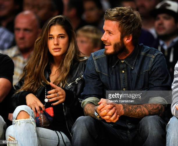 Soccer player David Beckham attends the season opening game at Staples Center between the Los Angeles Lakers and the Los Angeles Clippers on October...