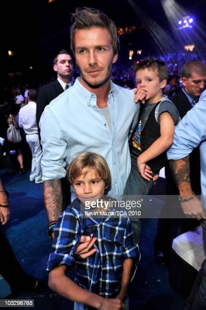 Soccer player David Beckham children Cruz Beckham and Romeo Beckham attend the 2010 Teen Choice Awards at Gibson Amphitheatre on August 8 2010 in...