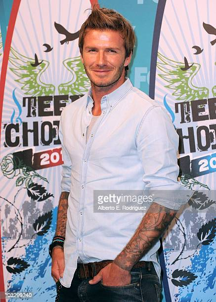Soccer player David Beckham poses in the press room at the 2010 Teen Choice Awards held at the Gibson Amphitheatre on August 8 2010 in Universal City...