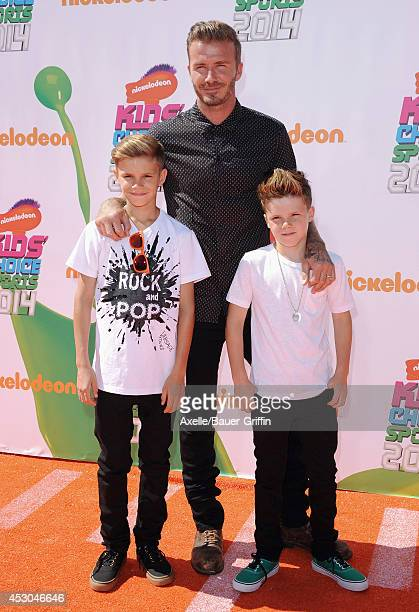 Soccer player David Beckham sons Romeo Beckham and Cruz Beckham attend Nickelodeon Kids' Choice Sports Awards 2014 at UCLA's Pauley Pavilion on July...