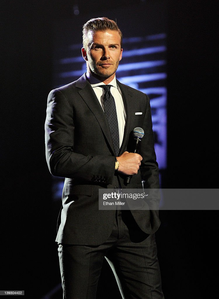 Soccer player <a gi-track='captionPersonalityLinkClicked' href=/galleries/search?phrase=David+Beckham&family=editorial&specificpeople=158480 ng-click='$event.stopPropagation()'>David Beckham</a> speaks at the Keep Memory Alive foundation's 'Power of Love Gala' celebrating Muhammad Ali's 70th birthday at the MGM Grand Garden Arena February 18, 2012 in Las Vegas, Nevada. The event benefits the Cleveland Clinic Lou Ruvo Center for Brain Health and the Muhammad Ali Center.