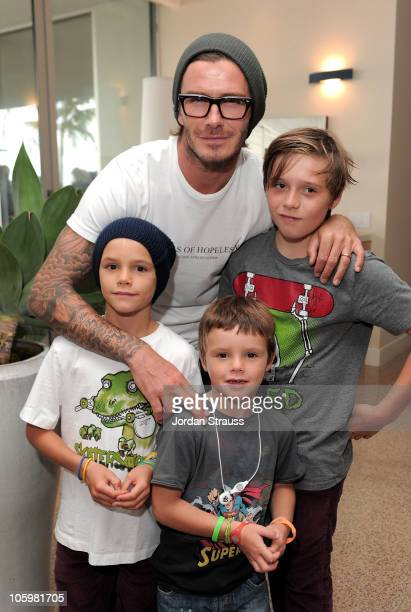 Soccer player David Beckham with sons Cruz Beckham Romeo Beckham and Brooklyn Beckham attend Kinect for Xbox 360 Launch Party held at a private...