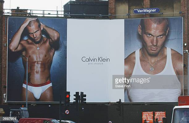 Soccer Player Freddie Ljungberg of Arsenal is seen in Calvin Klein Promotion on Tottenham Court Road November 3 2003 in London