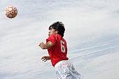 Soccer Player Heading a Ball