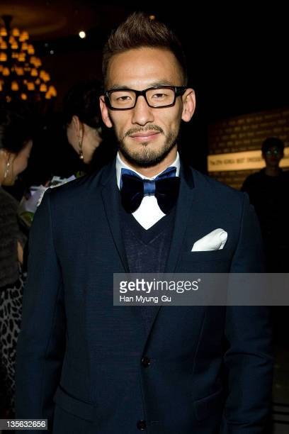 Soccer player Hidetoshi Nakata from Japan poses during the Korea Best Dresser Swan Awards on December 12 2011 in Seoul South Korea