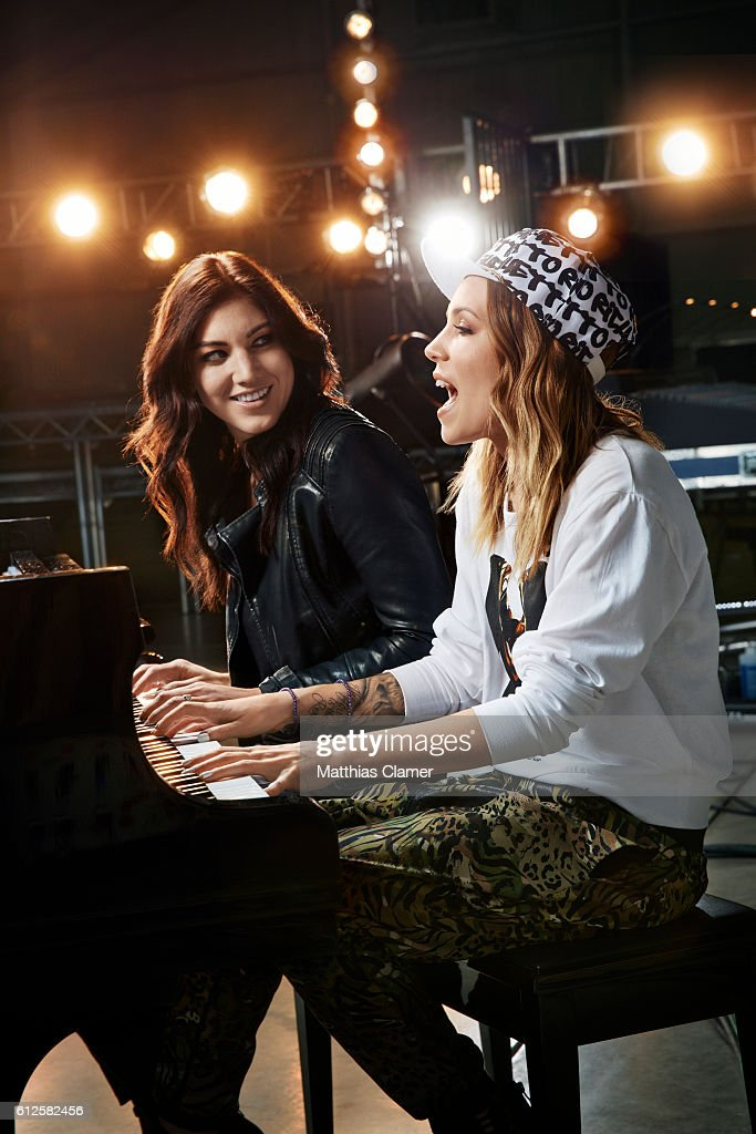 Soccer player Hope Solo and singer/songwriter Skylar Grey are photographed for ESPN Magazine, The Music Issue on January 7, 2014 in Los Angeles, California.