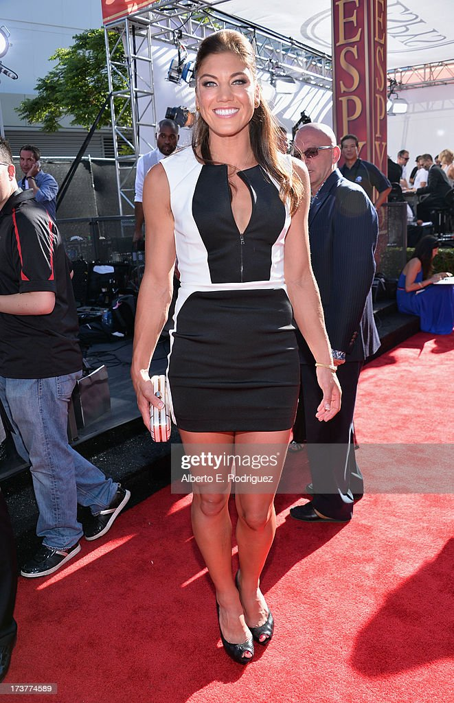 USA soccer player <a gi-track='captionPersonalityLinkClicked' href=/galleries/search?phrase=Hope+Solo&family=editorial&specificpeople=580524 ng-click='$event.stopPropagation()'>Hope Solo</a> attends The 2013 ESPY Awards at Nokia Theatre L.A. Live on July 17, 2013 in Los Angeles, California.