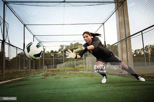 Soccer player Hope Solo is photogrpahed for Newsweek Magazine on July 7 2012 in New York City PUBLISHED IMAGE