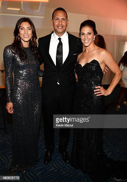 USWNT soccer player Hope Solo with MLB player Alex Rodriguez and USWNT soccer player Carli Lloyd attend The 2015 ESPYS at Microsoft Theater on July...