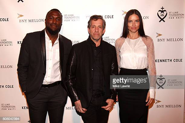 Soccer player Jozy Altidore designer Kenneth Cole and model Adriana Lima attend A Celebration For St Luke's Hospital of Haiti at the Garage on...