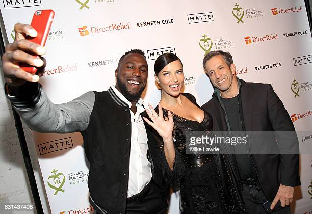 Soccer player Jozy Altidore model Adriana Lima and designer Kenneth Cole attend the 2017 St Luke Foundation for Haiti Benefit at the Garage on...