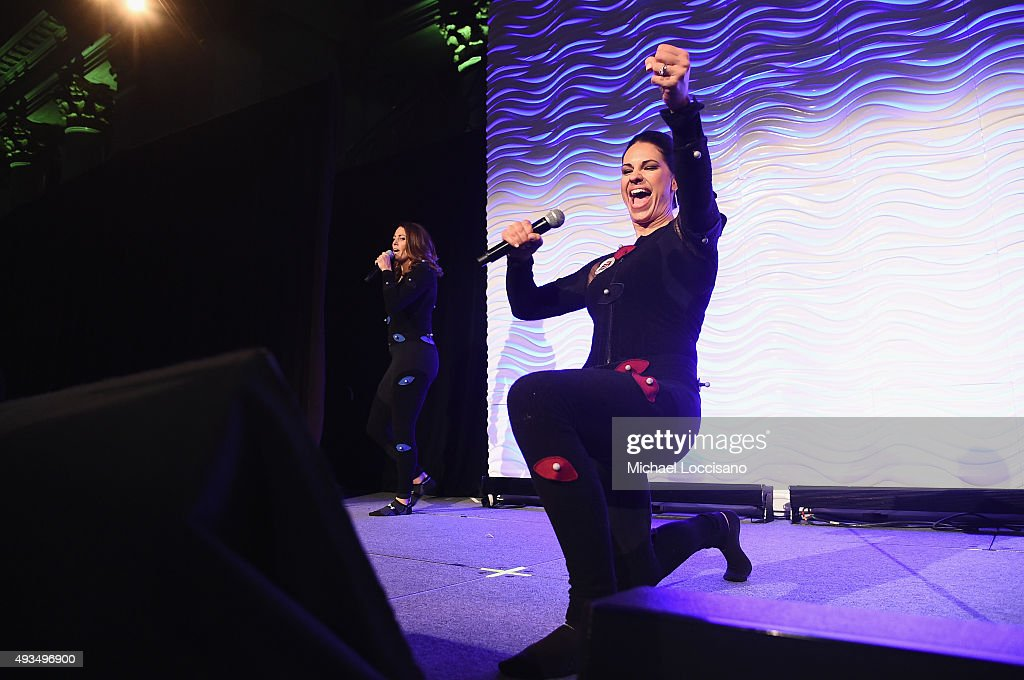 Soccer player Julie Foudy and Softball player Jessica Mendoza speak onstage during the 36th Annual Salute to Women In Sports at Cipriani Wall Street...